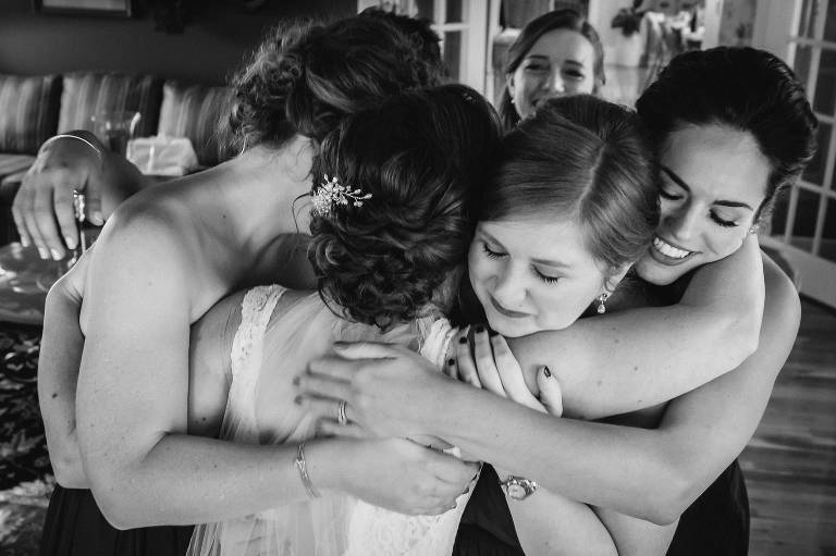 Group hug for the Bride in Belleville, ON