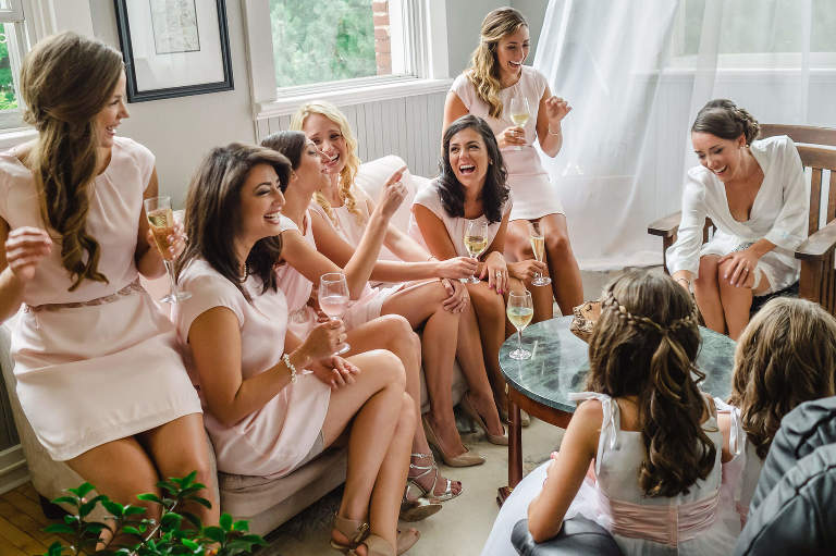Bridesmaids watch as Bride reads emotional letter in Bath, ON